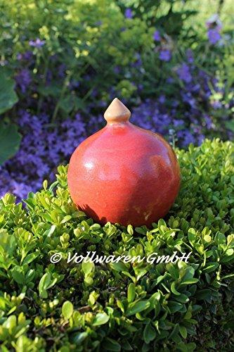 Gartendekoration ROSENKUGEL mit Spitze Keramik klein handgearb. rot Kunsthandwerk FROSTFEST