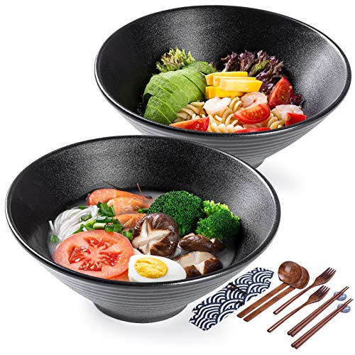 Porcelain Ramen Soup Bowl Set, 2×900ml 14 Piece Large Noodle Bowls with Spoons & Chopsticks, for Udon, Pasta, Pho, Soba, Cereal & Salad, Japanese Style Traditional Handmade…