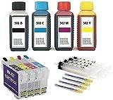 Cartucce di inchiostro ricaricabili con chip Auto Reset E 502 XL + 400 ml di inchiostro per Expression Home XP-5100, 5105, 5115 Workforce WF- 2800, 2860, 2865