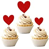 30 PCS Heart Cupcake Toppers Glitter Sweet Love Theme Cupcake Picks Wedding Engagement Bridal Shower Birthday Valentine's Day Party Cake Decorations Supplies Mixed Size Red