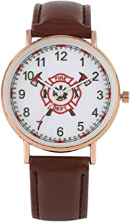Classic Brown Leather Strap with Pin Buckle Watch Delicate Fire Brigade Logo Quartz Watches Practical Arabic Numerals Dial Wristwatch