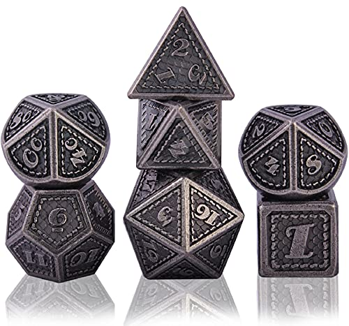 Schleuder DND Würfel Set Würfelset Dungeons and Dragons, 7 Stück Polyedrische Dice Set D&D Metall Würfel für RPG MTG Tischspiele Rollenspiel Brettspiel (Barrel Nickel Plating)