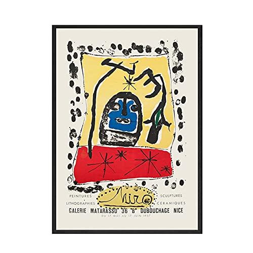 Joan Miró exhibió carteles y grabados abstractos nórdicos retro, cuadros murales famosos, lienzos familiares sin marco A 50x70cm