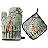 MNSRUU - Juego de 2 manoplas de horno y soportes para ollas, diseño de gato en valla de madera resistente al calor, almohadillas para horno para cocina y barbacoa