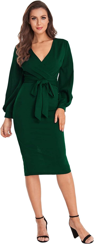 Verdusa Women's Plunging V Neck Bishop Sleeve Bodycon Belted Dress