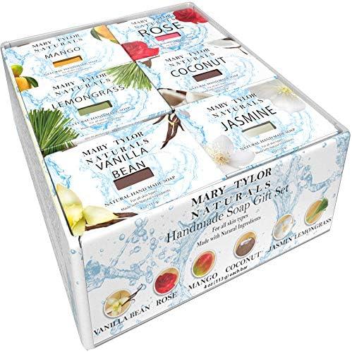 Hand Made Soap Set 4 oz x 6 each Bar is 4 oz Jasmine Rose Coconut Lemongrass Vanilla Mango by product image