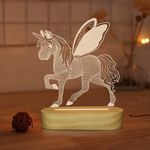 Lámpara de ilusión LED con luz de noche de unicornio 3D para niños, niñas, ideas de regalos navideños, lámparas de mesa para decoración de dormitorio infantil con colores blancos cálidos y suaves