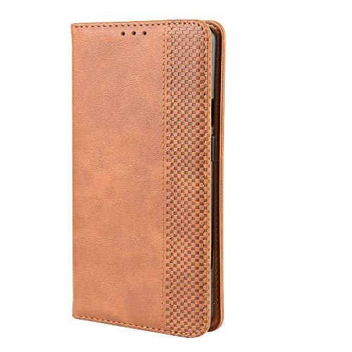 LAGUI Kompatible für Motorola One Macro Hülle, Leder Flip Hülle Schutzhülle für Handy mit Kartenfach Stand & Magnet Funktion als Brieftasche, braun