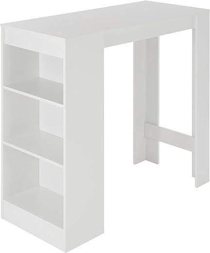ML-Design Bartisch mit 3 Ablagefläche, 110x50x103 cm, Weiß, aus melaminbeschichtetem Spanplatte, modernes Design, Stehtisch mit 3 Regalablagen,...