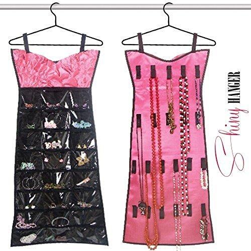 Oramics - Vestito Portagioie Doubleface da Armadio in Design di Abito Rosa-Nero, Portagioielli 90 x 44 cm