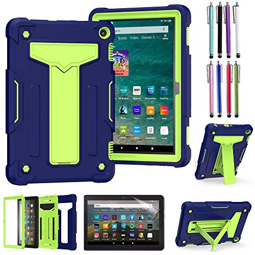 EpicGadget Case for Amazon Fire HD 8 / Fire HD 8 Plus (10th Generation, 2020 Released) - Heavy Duty Hybrid Protective Case Cover with Kickstand + 1 Screen Protector and 1 Stylus (Navy Blue/Green)