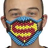 Kandi Gear Mascara Kandi Quirurjica se Superman, mascara de rave, mascara de halloween, mascara de cuentas para festivales de musica y fiestas
