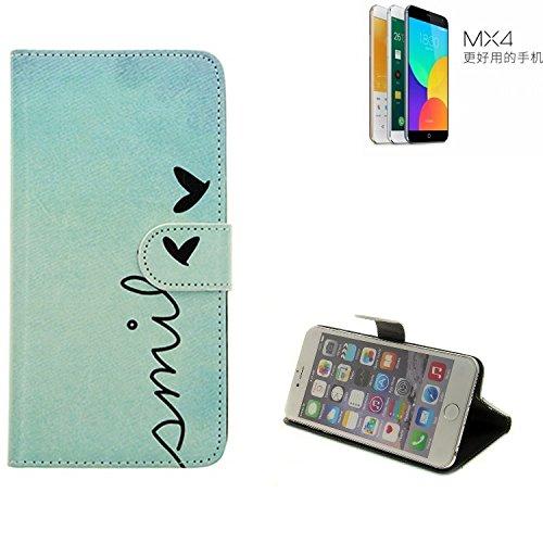 K-S-Trade 360° Funda Smartphone para Meizu MX4 Ubuntu Edition, Smile' | Wallet Case Flip Cover Caja Bolsa Caso Monedero BookStyle