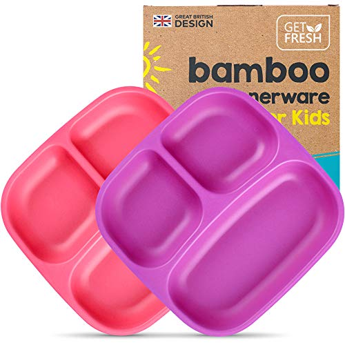 GET FRESH Bamboo Kids Divided Plates Set – 2-Pack 3 Compartment Bamboo Childrens Plates for Kids Meals – Reusable Bamboo Toddler Divided Plates Set – Reusable Bamboo Kids Dinnerware Sectioned Plates
