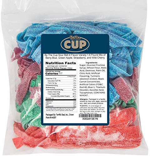 By The Cup Sour Belt 4 Flavor Variety 1.6 Pound Mix of Berry Blue, Green Apple, Strawberry, and Wild...