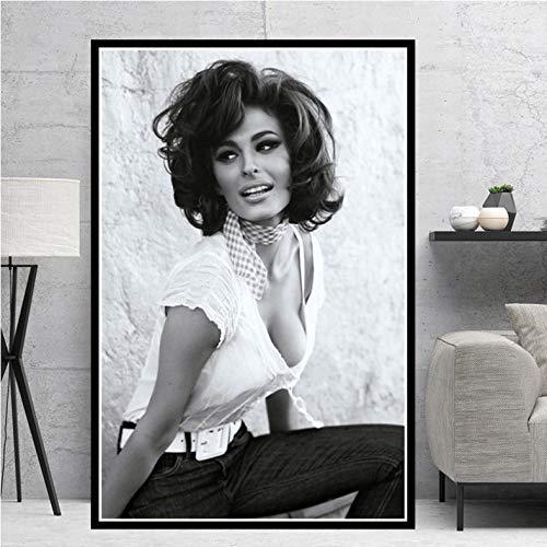 haoziggdeshoop Sophia Loren Schwarz Weiß Filmschauspielerin Frau Mädchen Poster Drucke Öl Leinwand Cancas Zum Malen Wandkunst Bilder Wohnkultur - A. 50X70Cm