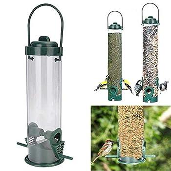 Lecez Gestionnaire d'oiseaux, Accessoires en Plastique alimentateur extérieur Nature Protection Animal et boîte intérieure de Grande capacité conteneur Alimentaire, Vert foncé, 24x7.5x14cm