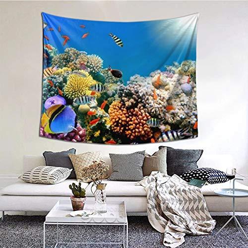 ZVEZVI Tapiz con Estampado de Peces Tropicales en un Arrecife de Coral, Arte de Pared para Sala de Estar, Dormitorio, Dormitorio, decoración 60ʺ × 51