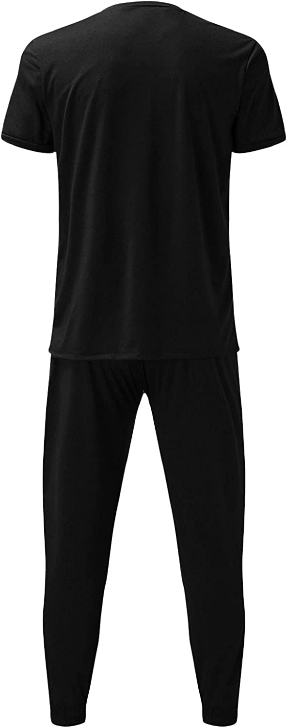 Maryia Men's 2 Piece Outfits Summer Casual Short Sleeve Slim Solid Sweatshirt Jogger Sweatpants Classic Fit Sports Set