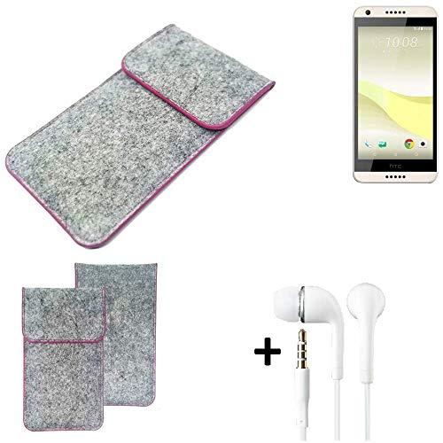 K-S-Trade Filz Schutz Hülle Für HTC Desire 650 Schutzhülle Filztasche Pouch Tasche Hülle Sleeve Handyhülle Filzhülle Hellgrau Pinker Rand + Kopfhörer
