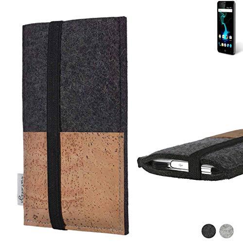 flat.design Handy Hülle Sintra für Allview P6 Pro Handytasche Filz Tasche Schutz Kartenfach Case Natur Kork