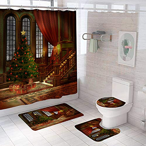 ZLWSSA Hall Christmas Tree Bathroom Set Merry Christmas Shower Curtains And Rug Sets Toilet Cover Bath Mat Non Slip Rugs W150xH180cm