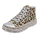 HOUMENGO Mujer Dance Fitness Sneakers Entrenadores Transpirables y Ligero Antideslizante Zapatos Casuales Bajos con Cordones Zapatos De Lona con Fondo Grueso De Cuerda De CáñAmo De Leopardo Femenino