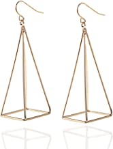 RechicGu Blogger Aztec Cut Out 3D Triangle Pyramid Steampunk Diva Gypsy Earrings with Gift Box