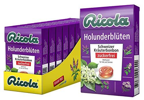 Ricola Holunderblüten, Schweizer Kräuterbonbon, 10 x 50g Böxli, ohne Zucker, Wohltuend und erfrischender Genuss