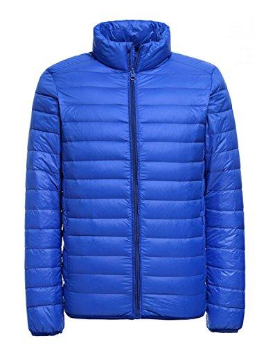 Homme Ultra Légère Courte Doudoune de 90% Duvet de Canard Zippée Manches Longues Hiver Veste Manteau Compressible Blouson Courte - Bleu - XL
