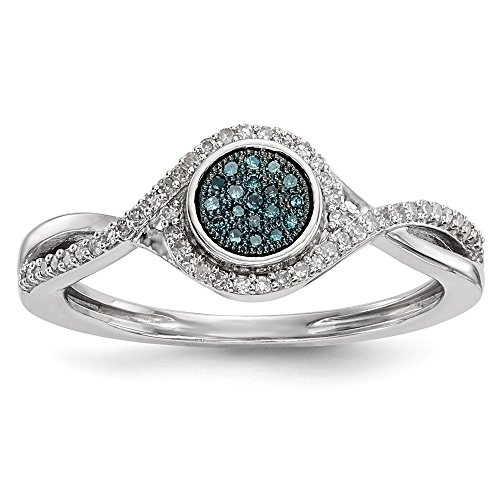 925 Sterling Silver Blue White Diamond Band Ring Size 8.00 Fine Jewelry For Women Gifts For Her