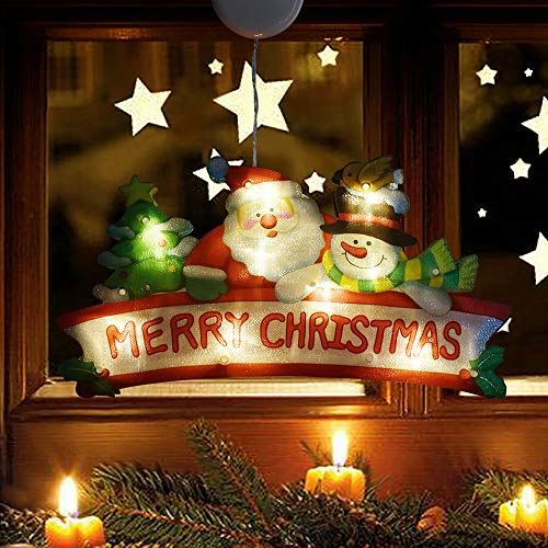 LETOUR Christmas Decoration Lighted Window Hanging Décor 9 LED Xmas Lights with Suction Cup Hook 3X AAA Battery Powered for Christmas Party Showcase Show Window Home Living Room Kid (Merry Christmas)
