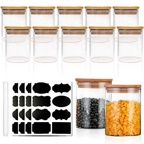 Gewürzdosen Set mit Deckel - Gewürze Aufbewahrung Vorratsgläser mit Hochwertigem Holzdeckel aus Bambus - Luftdicht - 125ml