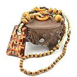木製 ロングネックレス ペンダント民族風 人気 手作り 手彫り セーターチェーン ブラウン木製 レディース メンズ 兼用 天然素材 ジュエリー アクセサリー(鯉、ピンアンバックル、幸運な象、お金の袋、星と月、台形) (台形)