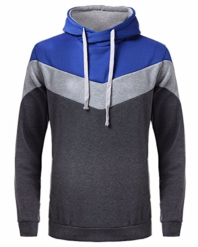 MODCHOK Men's Long Sleeve Hooded Sweatshirt Casual Novelty Hoodies Pullover Tops (M, Blue Grey)