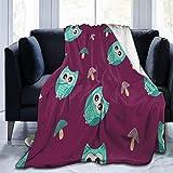 AEMAPE Manta de Dibujos Animados búho y Seta Manta de Lana Manta Plegable Manta Lavable sofá Manta Manta de Playa para Oficina 60x80in