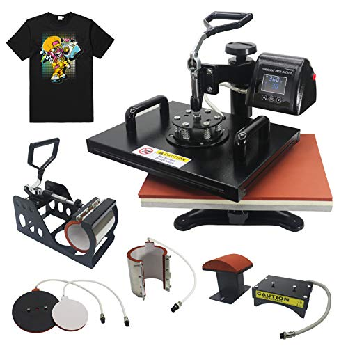 RoyalPress 5 in 1 Heat Press 13' x 18' Color LED 360-degree Rotation Professional Sublimation Multifunction Combo Heat Press Machine Hat/Mug/Plate/Cap/T-Shirt Black (5 in 1)