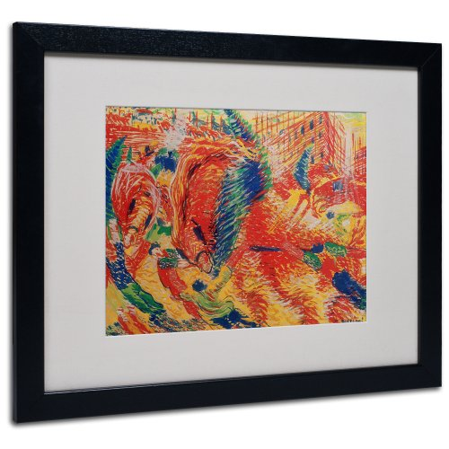 Trademark Fine Art The City Rises 1911 Artwork by Umberto Boccioni, Black Frame, 16 by 20-Inch