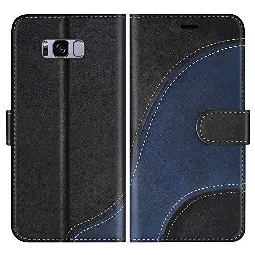 BoxTii Cover per Galaxy S8, Custodia in PU Pelle Portafoglio per Samsung Galaxy S8, Magnetica Cover a Libro con Slot per Schede, Nero