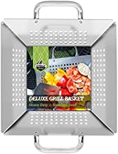 SHINESTAR Well Made Grill Veggies Basket, Stainless Steel Large Grilling Basket for All Grills, Vegetables, Shrimp and More, Easily to Clean.