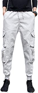 GUOCAI Mens Workout Solid Color Drawstring Multi-Pockets Cargo Jogger Pants Trousers
