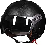 QDY Adult Open Face Motorcycle Helmet Retro Helmet Half Helmet for Motorcycle Jet Helmet Racing Pilot Motocross Vespa Moped Cruiser with Goggles Dot/ECE Approved B,XL=59~60cm