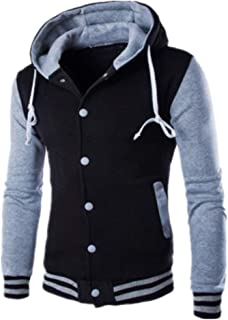 Men's Jacket Thicken Hoodie Hooded Jacket Warm Fleece Sweat Jacket Casual Fashion Patchwork Buttoned Cardigan Drawstring B...
