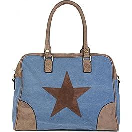 styleBREAKER Cabas en Toile avec étoile Cousue, Applications en Similicuir, Sac à bandoulière, Besace, Femmes, 02012083…