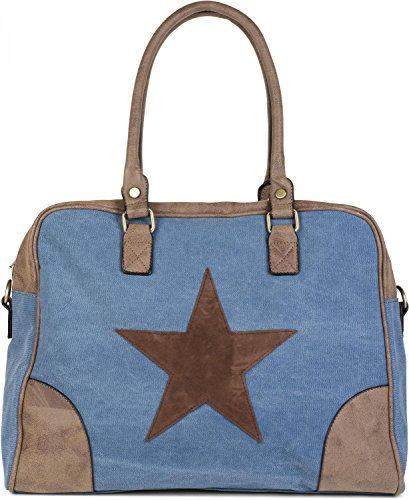 styleBREAKER Canvas Shopper Tasche mit aufgenähtem Stern, Kunstleder Applikationen, Schultertasche, Umhängetasche, Damen 02012083, Farbe:Blau