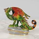 MAISONICA - Joyero de metal con alas de dragón verde y naranja