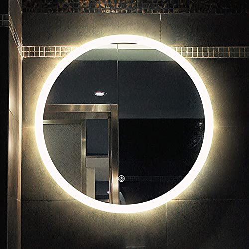 ZCZZ Espejo Redondo para baño, Espejo de baño LED Iluminado con Sensor de Control táctil, Espejo de tocador Inteligente de Pared, luz cálida/luz Blanca