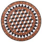 vidaXL Mosaik Bistrotisch Gartentisch Balkontisch Mosaiktisch Terrassentisch Tisch Beistelltisch Couchtisch Gartenmöbel Grau 61cm Keramik - 4