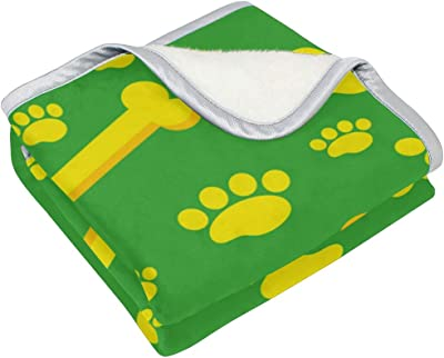 PLMMYJY Soft Warm Blanket, Home Decor Yellow Dog Bone Blankets for Bed Couch Sofa Travelling