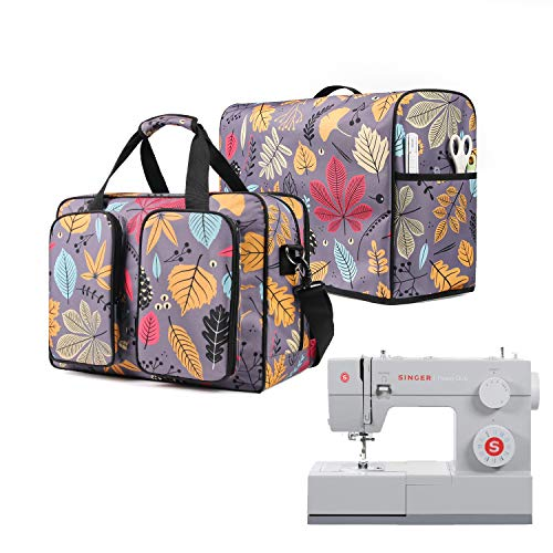 BGD-DG Travel Sewing Machine Bag with Removable Bottom Padding Pad, Travel Carrying Case for Most Most Standard Sewing Machine, Purple Leaf (Bag Only)